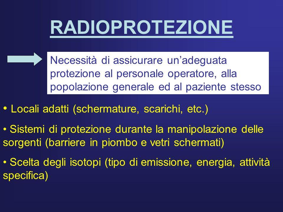 RADIOPROTEZIONE Necessità di assicurare unadeguata protezione al personale operatore, alla popolazione generale ed al paziente stesso Locali adatti (s