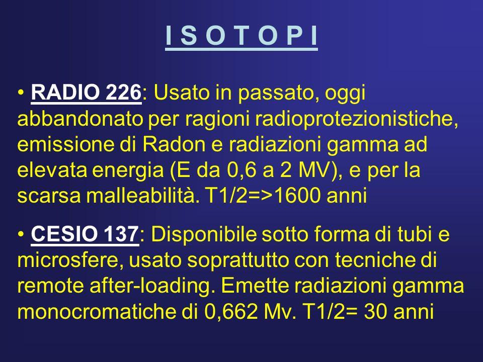I S O T O P I IRIDIO 192: Eattualmente il più usato sia per terapia endocavitaria che interstiziale.