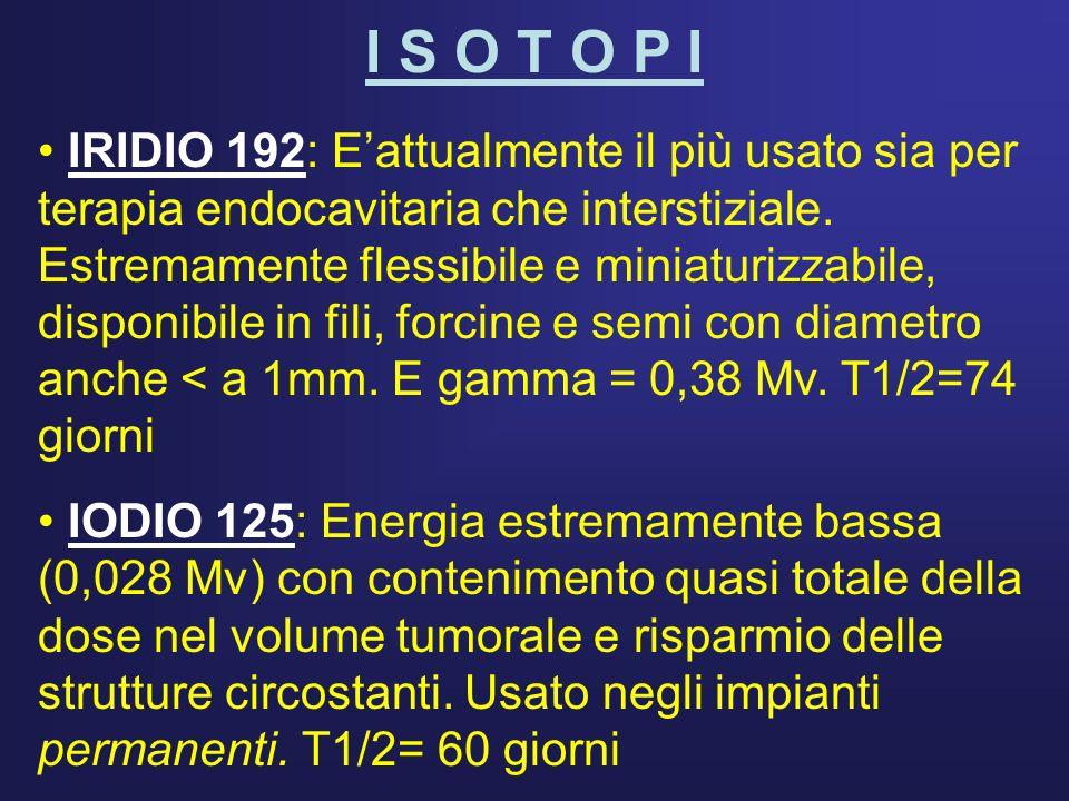 I S O T O P I IRIDIO 192: Eattualmente il più usato sia per terapia endocavitaria che interstiziale. Estremamente flessibile e miniaturizzabile, dispo