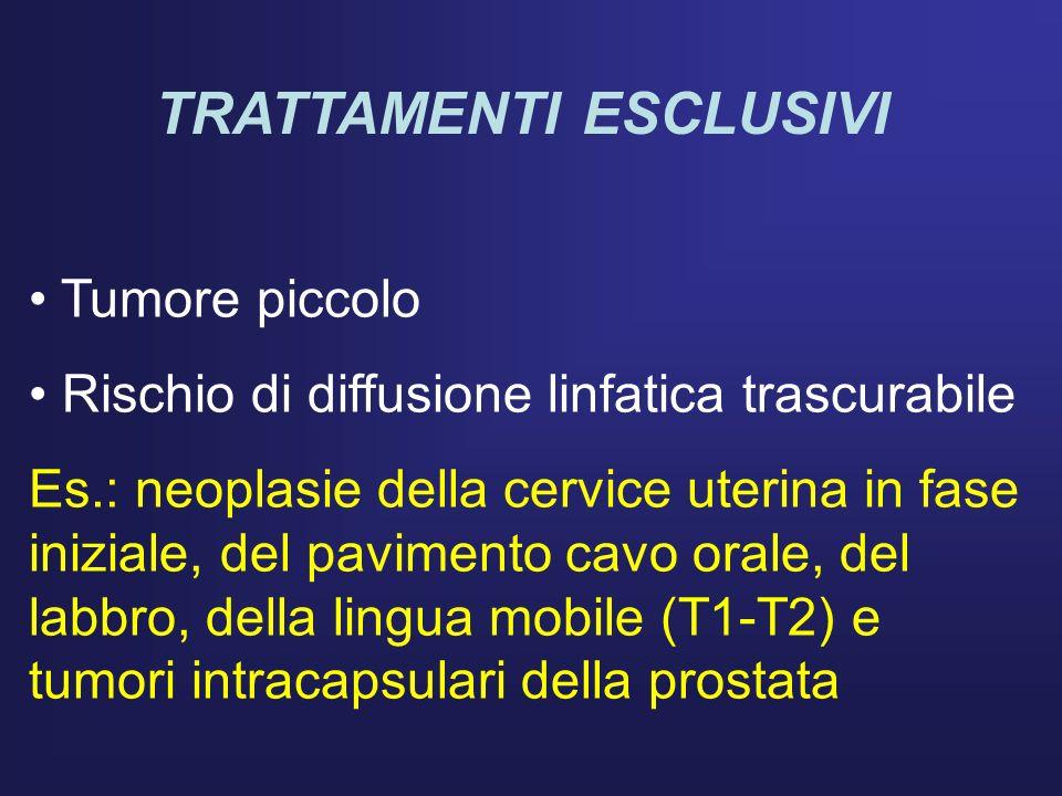 TRATTAMENTI ESCLUSIVI Tumore piccolo Rischio di diffusione linfatica trascurabile Es.: neoplasie della cervice uterina in fase iniziale, del pavimento