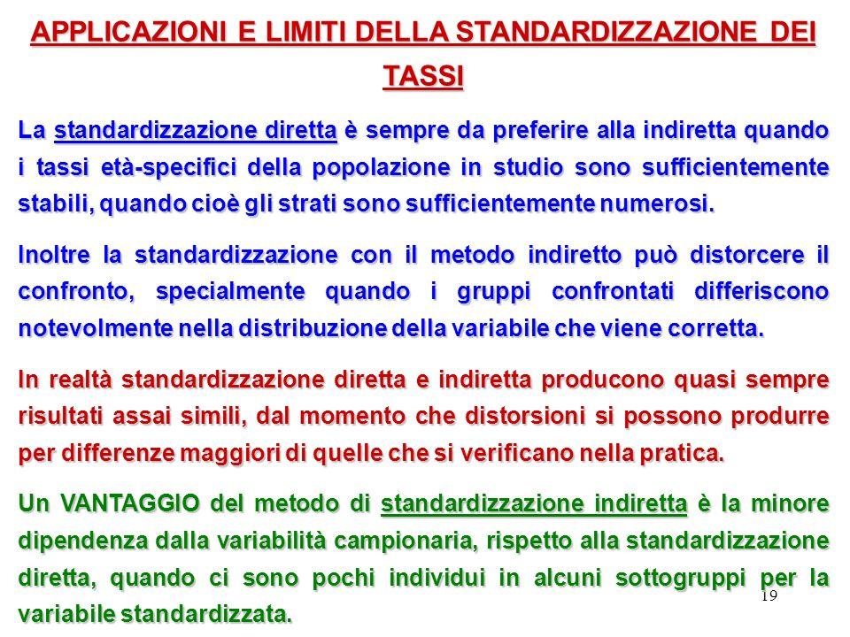19 APPLICAZIONI E LIMITI DELLA STANDARDIZZAZIONE DEI TASSI La standardizzazione diretta è sempre da preferire alla indiretta quando i tassi età-specif