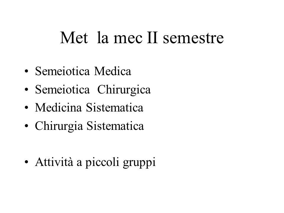 Met la mec II semestre Semeiotica Medica Semeiotica Chirurgica Medicina Sistematica Chirurgia Sistematica Attività a piccoli gruppi