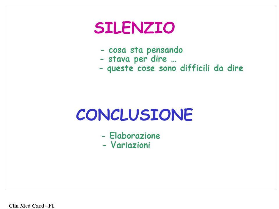 Clin Med Card –FI SILENZIO - cosa sta pensando - stava per dire … - queste cose sono difficili da dire CONCLUSIONE - Elaborazione - Variazioni