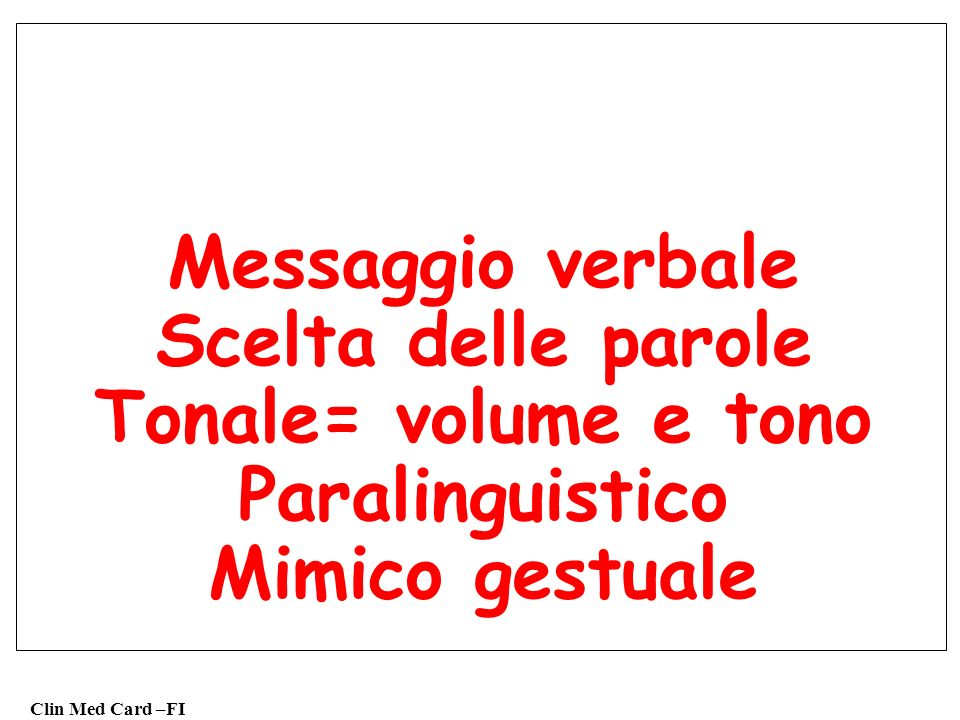 Clin Med Card –FI Messaggio verbale Scelta delle parole Tonale= volume e tono Paralinguistico Mimico gestuale