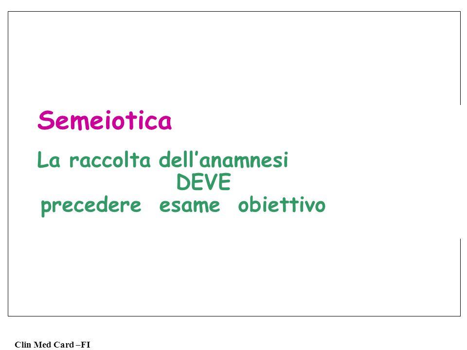 Clin Med Card –FI Semeiotica rilievo di 1.Sintomi (soggettivi) 2.