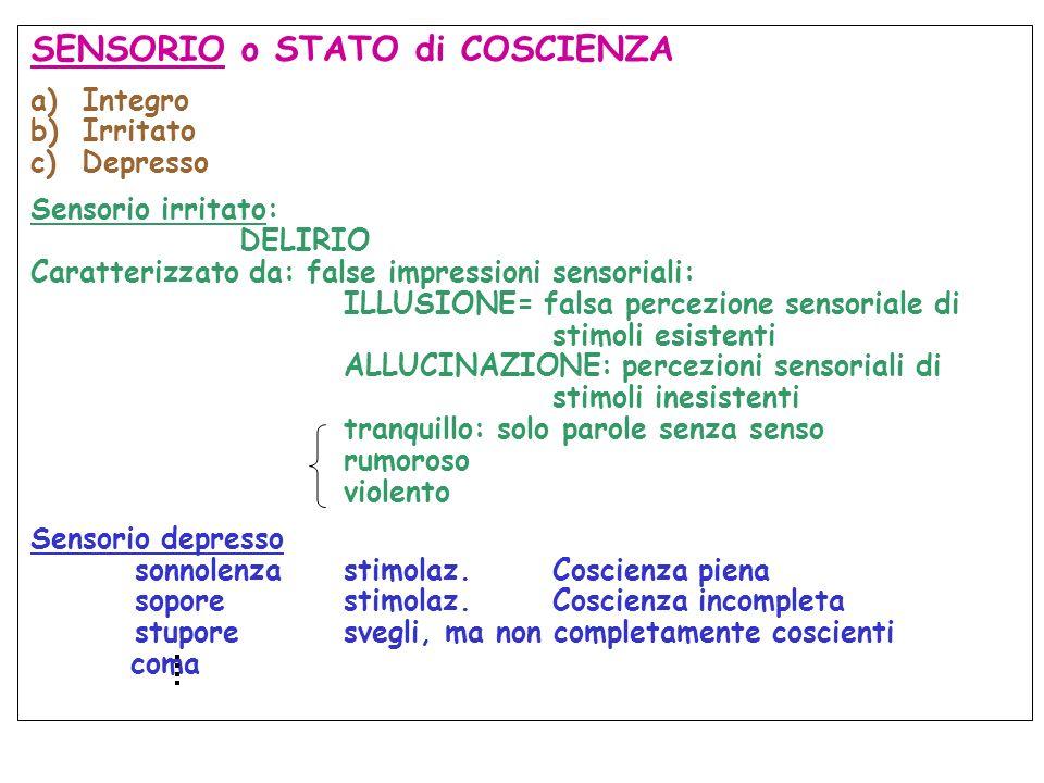 SENSORIO o STATO di COSCIENZA a)Integro b)Irritato c) Depresso Sensorio irritato: DELIRIO Caratterizzato da: false impressioni sensoriali: ILLUSIONE=