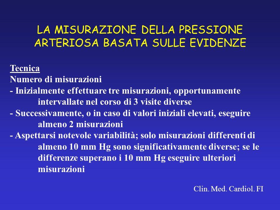LA MISURAZIONE DELLA PRESSIONE ARTERIOSA BASATA SULLE EVIDENZE Clin. Med. Cardiol. FI Tecnica Numero di misurazioni - Inizialmente effettuare tre misu