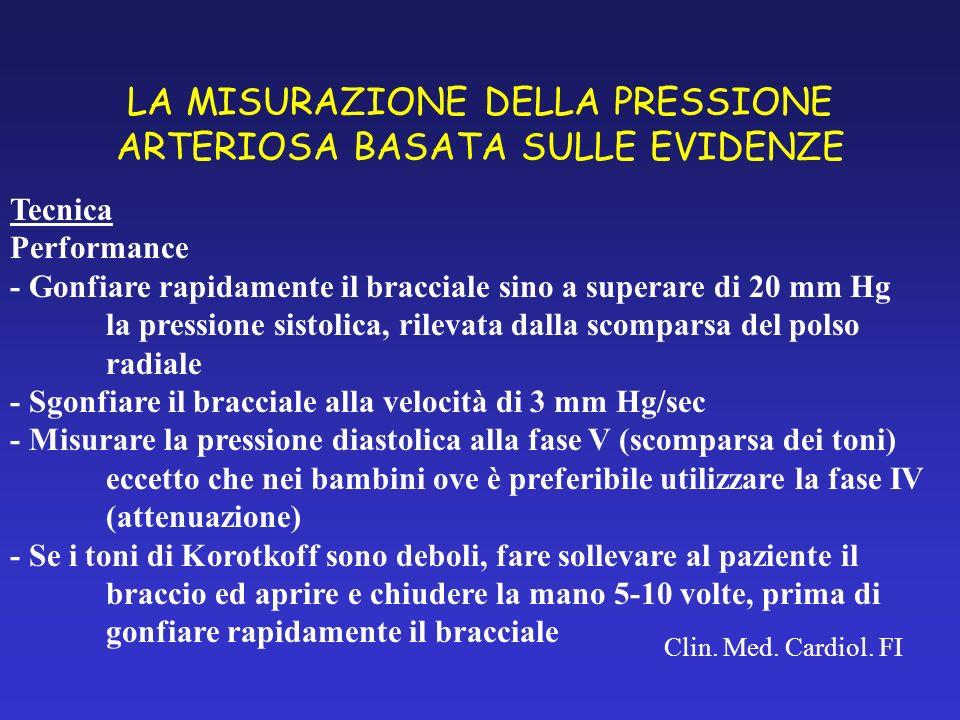 LA MISURAZIONE DELLA PRESSIONE ARTERIOSA BASATA SULLE EVIDENZE Clin. Med. Cardiol. FI Tecnica Performance - Gonfiare rapidamente il bracciale sino a s