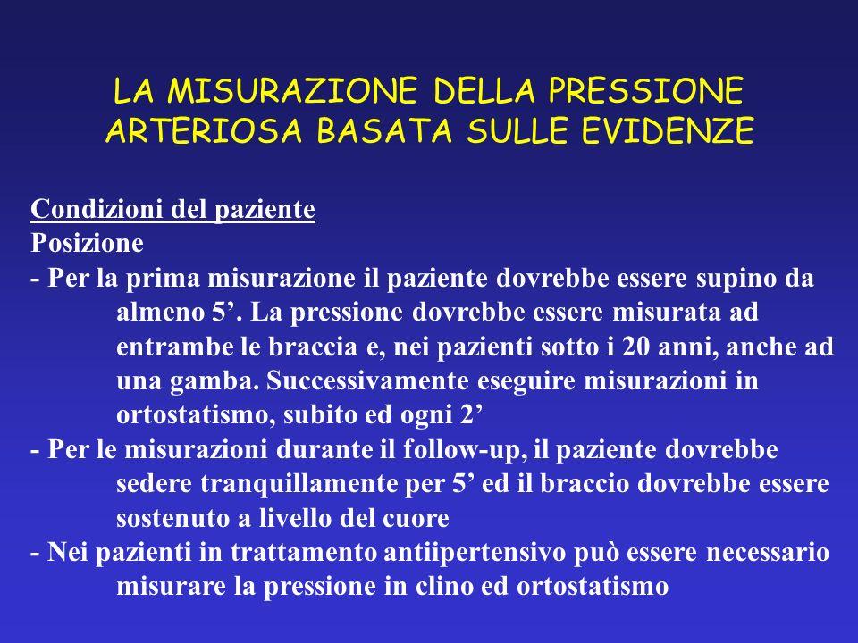 LA MISURAZIONE DELLA PRESSIONE ARTERIOSA BASATA SULLE EVIDENZE Condizioni del paziente Posizione - Per la prima misurazione il paziente dovrebbe esser