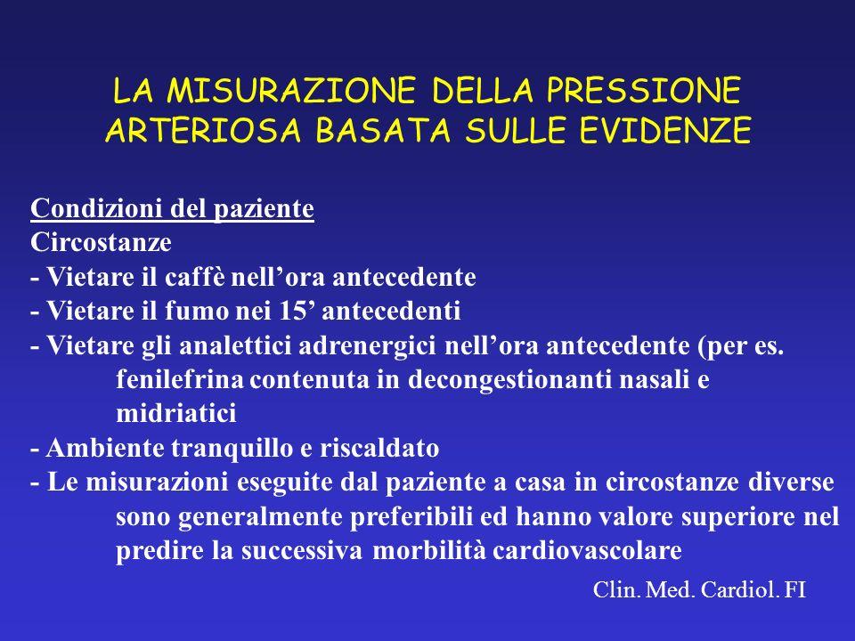 LA MISURAZIONE DELLA PRESSIONE ARTERIOSA BASATA SULLE EVIDENZE Clin. Med. Cardiol. FI Condizioni del paziente Circostanze - Vietare il caffè nellora a