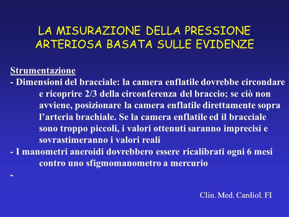 LA MISURAZIONE DELLA PRESSIONE ARTERIOSA BASATA SULLE EVIDENZE Clin. Med. Cardiol. FI Strumentazione - Dimensioni del bracciale: la camera enflatile d