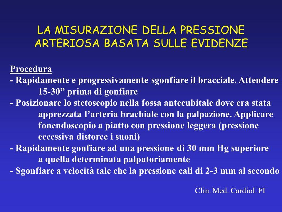 LA MISURAZIONE DELLA PRESSIONE ARTERIOSA BASATA SULLE EVIDENZE Clin. Med. Cardiol. FI Procedura - Rapidamente e progressivamente sgonfiare il braccial