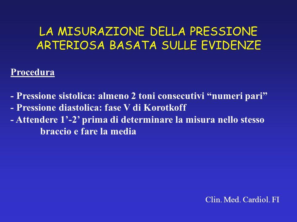 LA MISURAZIONE DELLA PRESSIONE ARTERIOSA BASATA SULLE EVIDENZE Clin. Med. Cardiol. FI Procedura - Pressione sistolica: almeno 2 toni consecutivi numer