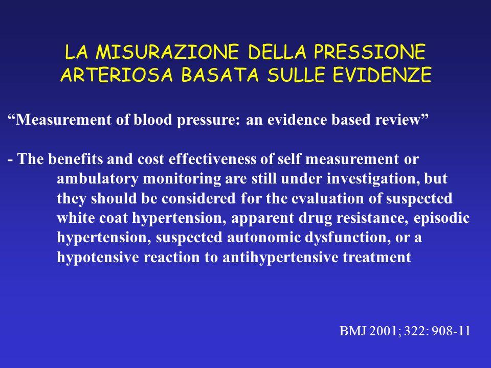 LA MISURAZIONE DELLA PRESSIONE ARTERIOSA BASATA SULLE EVIDENZE BMJ 2001; 322: 908-11 Measurement of blood pressure: an evidence based review - The ben