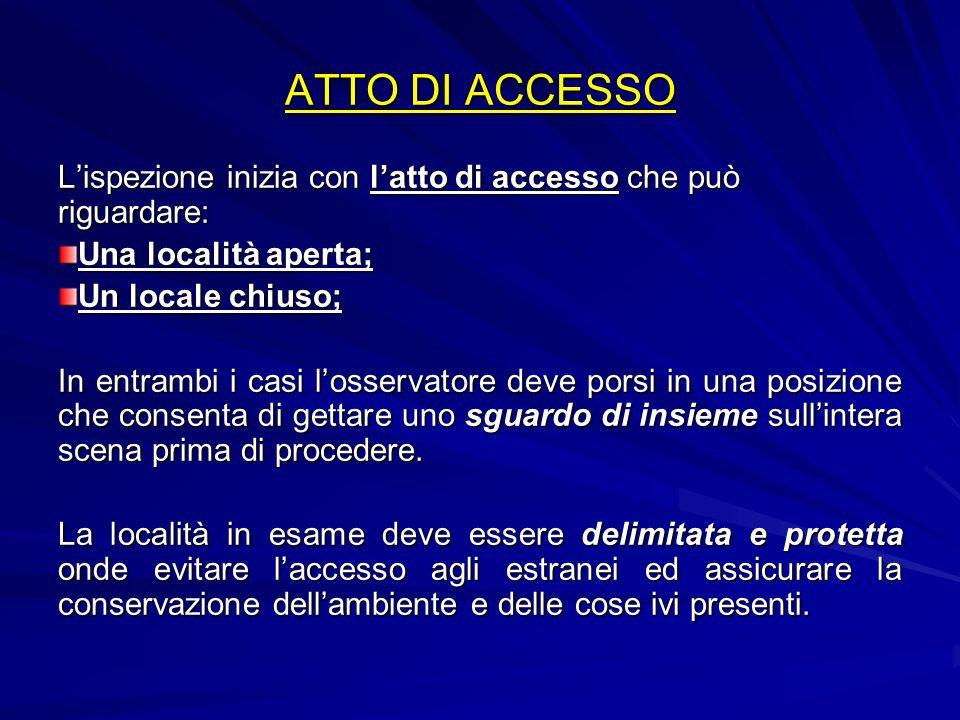 ATTO DI ACCESSO Lispezione inizia con latto di accesso che può riguardare: Una località aperta; Un locale chiuso; In entrambi i casi losservatore deve