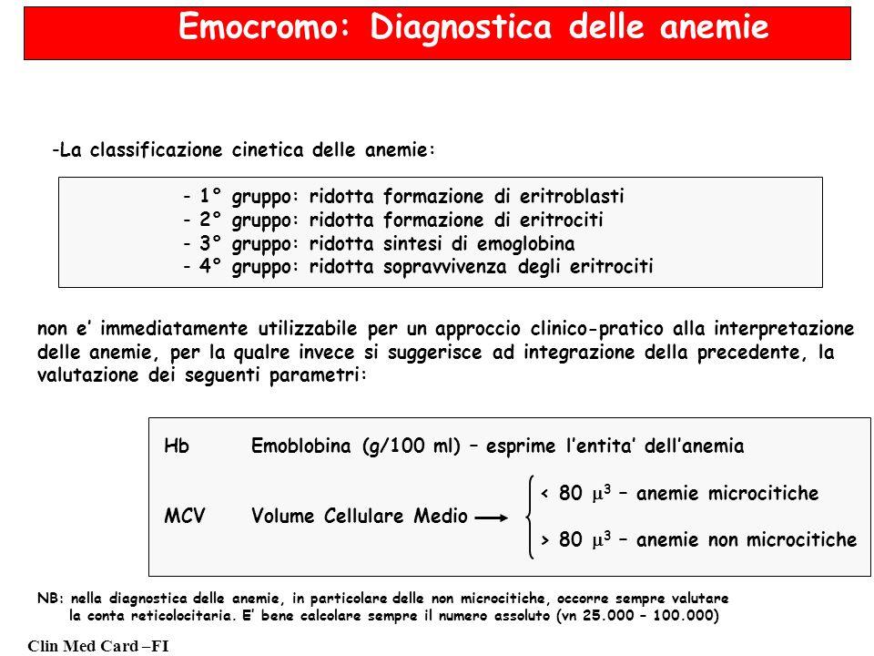 Clin Med Card –FI Emocromo: Diagnostica delle anemie -La classificazione cinetica delle anemie: - 1° gruppo: ridotta formazione di eritroblasti - 2° gruppo: ridotta formazione di eritrociti - 3° gruppo: ridotta sintesi di emoglobina - 4° gruppo: ridotta sopravvivenza degli eritrociti non e immediatamente utilizzabile per un approccio clinico-pratico alla interpretazione delle anemie, per la qualre invece si suggerisce ad integrazione della precedente, la valutazione dei seguenti parametri: HbEmoblobina (g/100 ml) – esprime lentita dellanemia < 80 3 – anemie microcitiche MCVVolume Cellulare Medio > 80 3 – anemie non microcitiche NB: nella diagnostica delle anemie, in particolare delle non microcitiche, occorre sempre valutare la conta reticolocitaria.