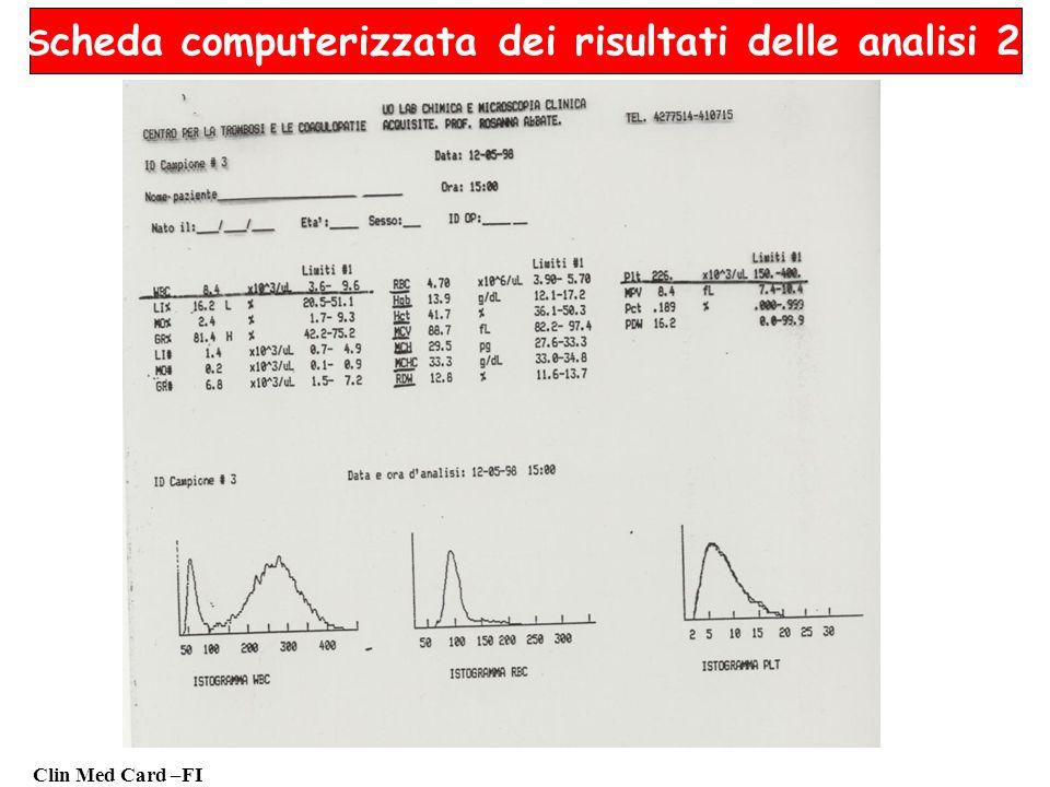 Clin Med Card –FI S cheda computerizzata dei risultati delle analisi 2