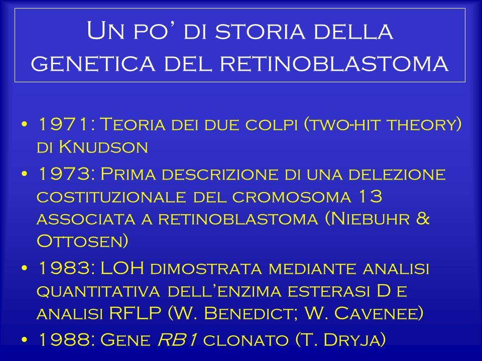 Un po di storia della genetica del retinoblastoma 1971: Teoria dei due colpi (two-hit theory) di Knudson 1973: Prima descrizione di una delezione cost