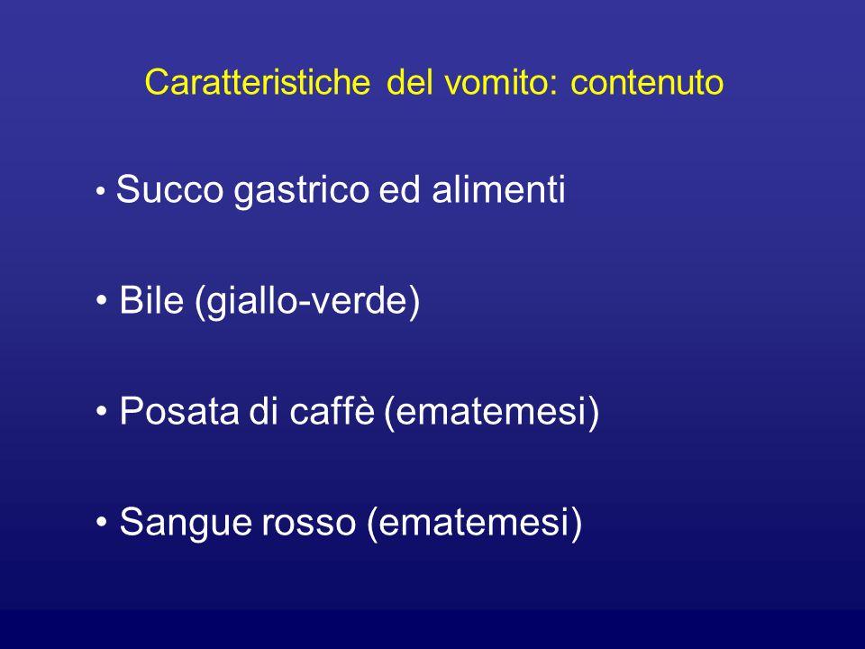 Caratteristiche del vomito: contenuto Succo gastrico ed alimenti Bile (giallo-verde) Posata di caffè (ematemesi) Sangue rosso (ematemesi)