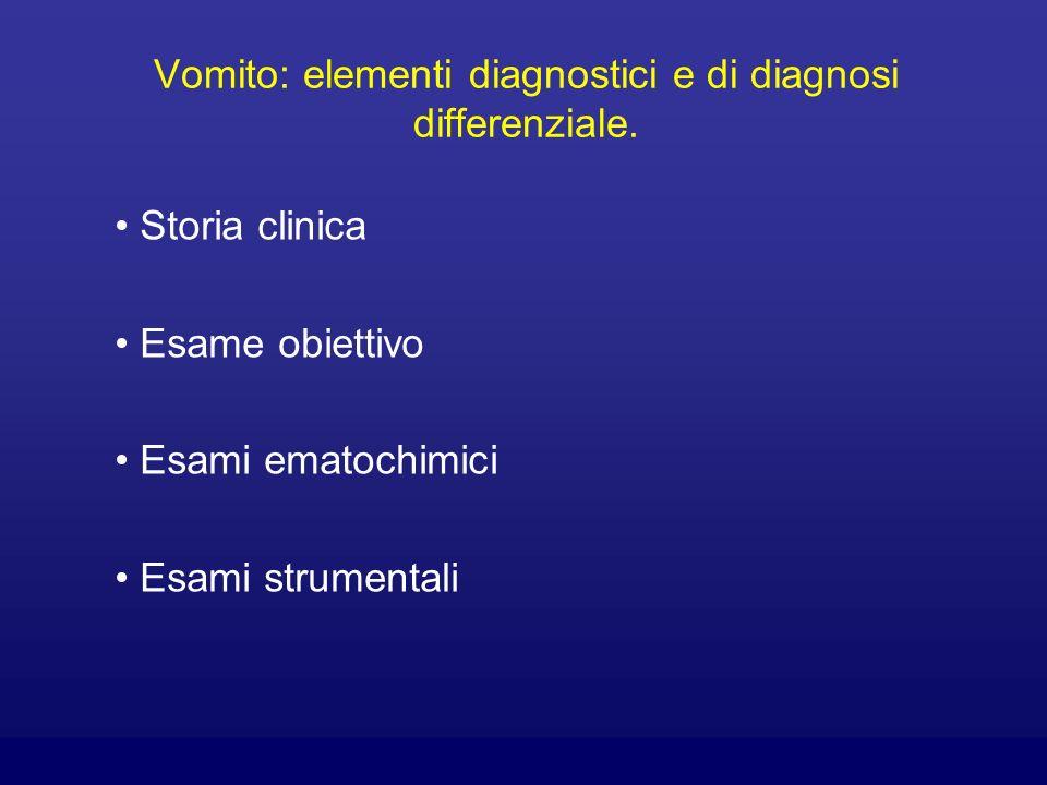 Vomito: elementi diagnostici e di diagnosi differenziale. Storia clinica Esame obiettivo Esami ematochimici Esami strumentali