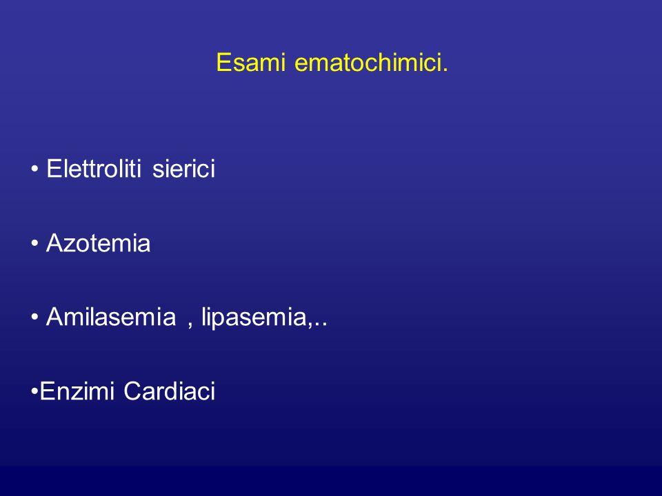 Esami ematochimici. Elettroliti sierici Azotemia Amilasemia, lipasemia,.. Enzimi Cardiaci