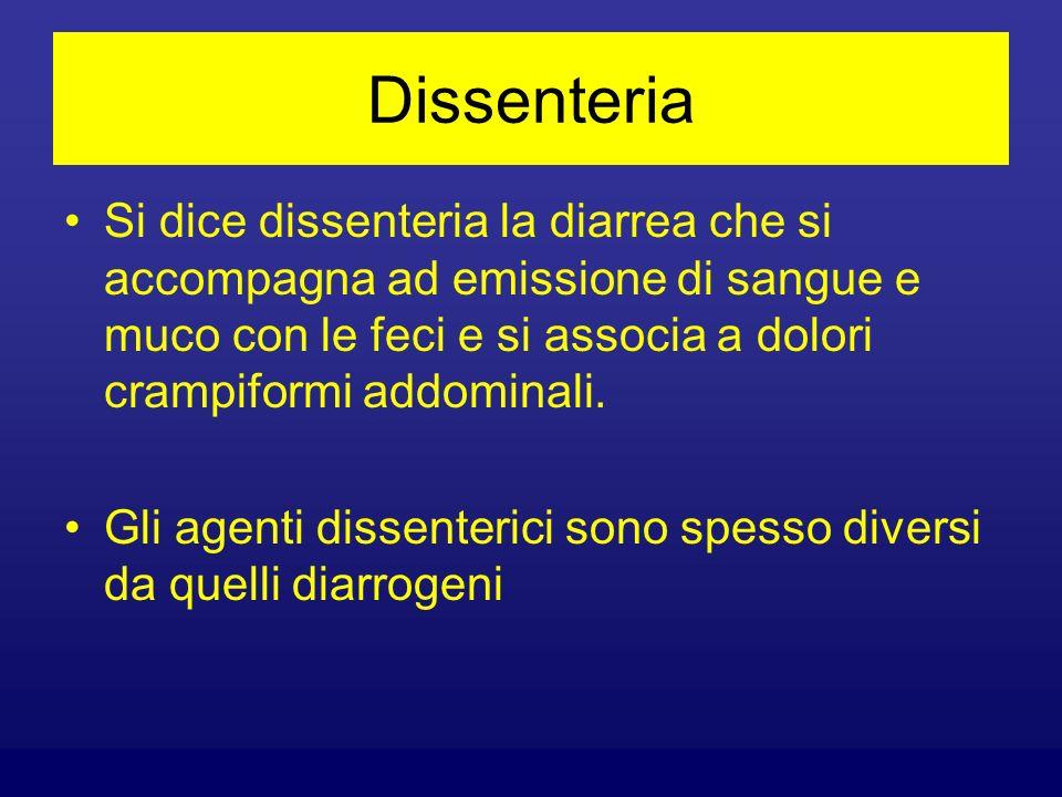 Dissenteria Si dice dissenteria la diarrea che si accompagna ad emissione di sangue e muco con le feci e si associa a dolori crampiformi addominali. G