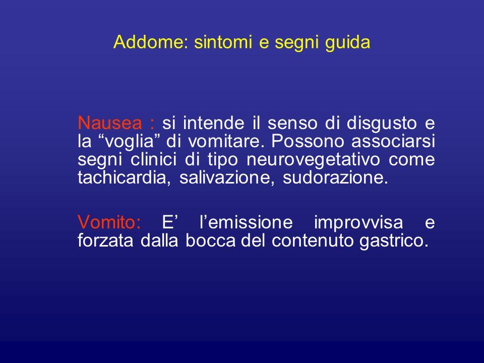 Addome: sintomi e segni guida Nausea : si intende il senso di disgusto e la voglia di vomitare. Possono associarsi segni clinici di tipo neurovegetati