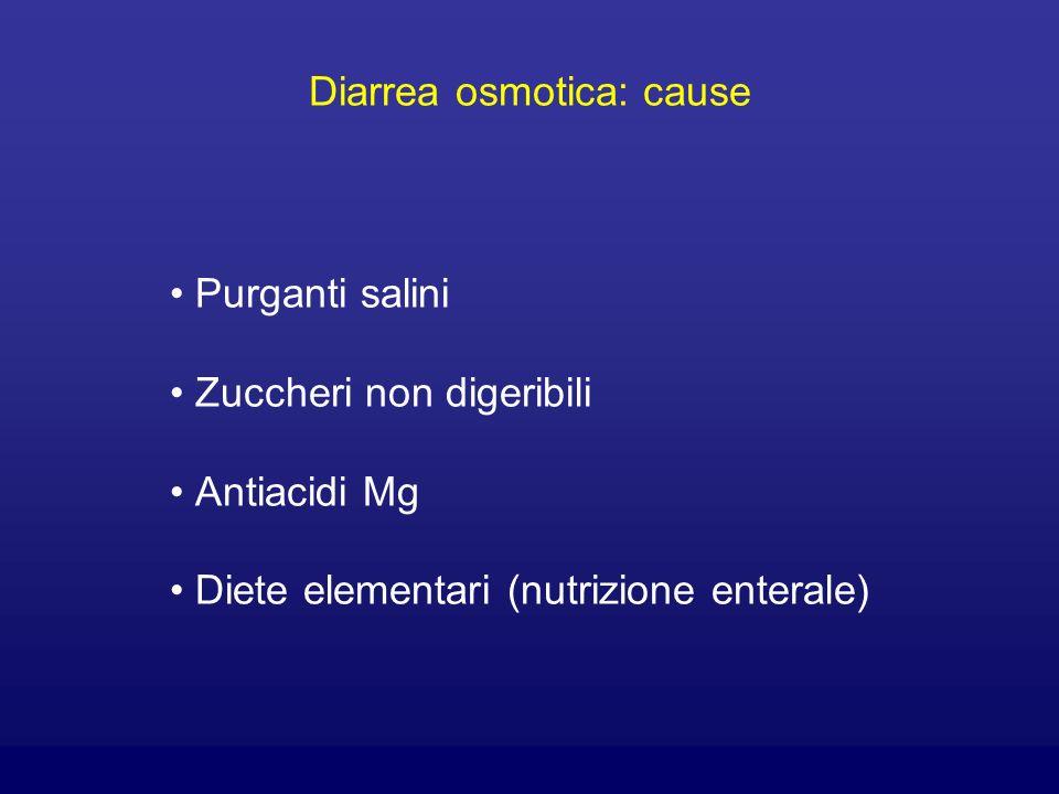 Diarrea osmotica: cause Purganti salini Zuccheri non digeribili Antiacidi Mg Diete elementari (nutrizione enterale)