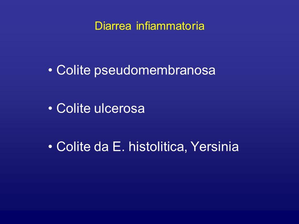 Diarrea infiammatoria Colite pseudomembranosa Colite ulcerosa Colite da E. histolitica, Yersinia