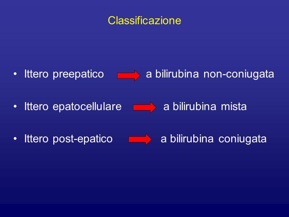 Classificazione Ittero preepatico a bilirubina non-coniugata Ittero epatocellulare a bilirubina mista Ittero post-epatico a bilirubina coniugata