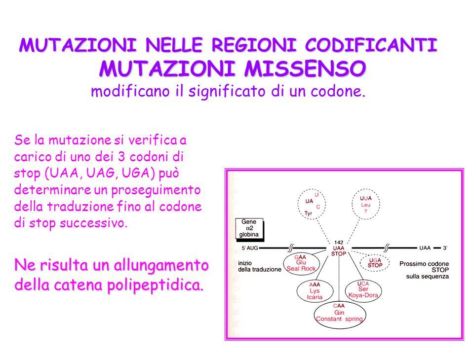 Se la mutazione si verifica a carico di uno dei 3 codoni di stop (UAA, UAG, UGA) può determinare un proseguimento della traduzione fino al codone di s