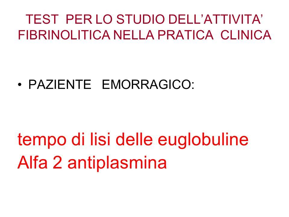 TEST PER LO STUDIO DELLATTIVITA FIBRINOLITICA NELLA PRATICA CLINICA PAZIENTE EMORRAGICO: tempo di lisi delle euglobuline Alfa 2 antiplasmina