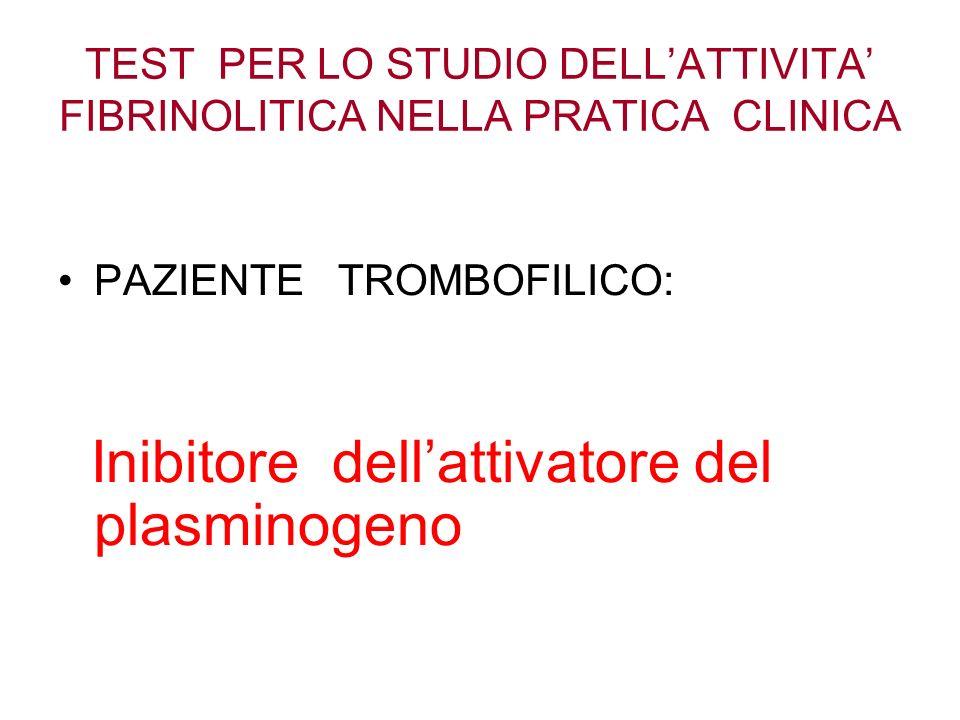 TEST PER LO STUDIO DELLATTIVITA FIBRINOLITICA NELLA PRATICA CLINICA PAZIENTE TROMBOFILICO: Inibitore dellattivatore del plasminogeno