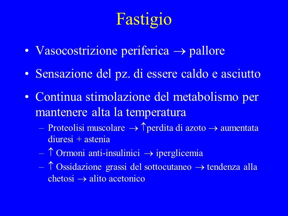 Fastigio Vasocostrizione periferica pallore Sensazione del pz. di essere caldo e asciutto Continua stimolazione del metabolismo per mantenere alta la