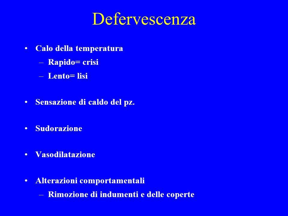 Defervescenza Calo della temperatura –Rapido= crisi –Lento= lisi Sensazione di caldo del pz. Sudorazione Vasodilatazione Alterazioni comportamentali –