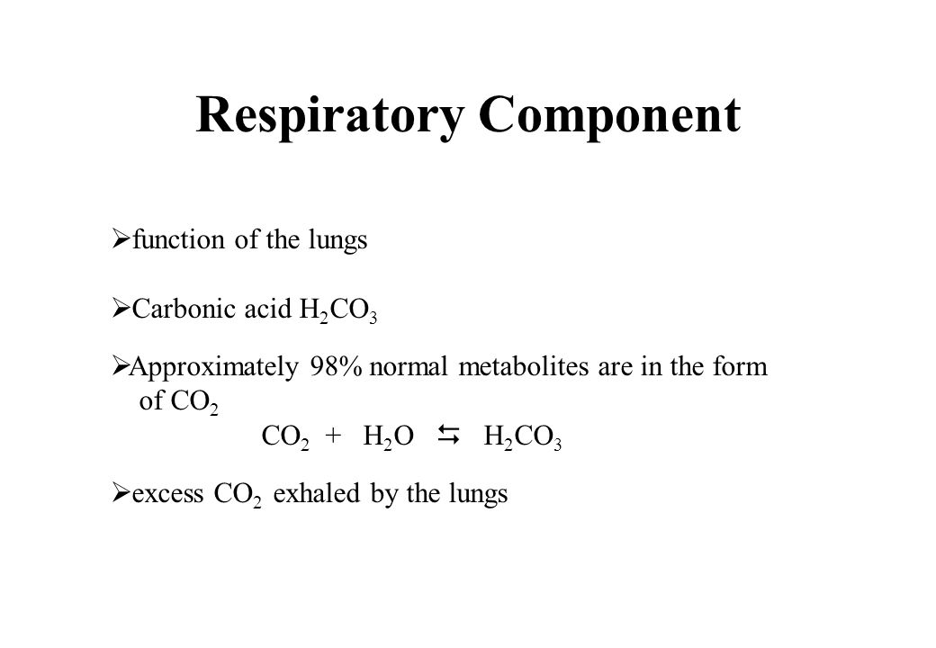 Respiratory Component function of the lungs Carbonic acid H 2 CO 3 Approximately 98% normal metabolites are in the form of CO 2 CO 2 + H 2 O H 2 CO 3