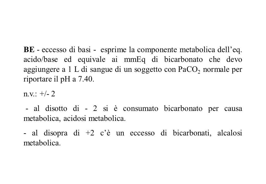 BE - eccesso di basi - esprime la componente metabolica delleq. acido/base ed equivale ai mmEq di bicarbonato che devo aggiungere a 1 L di sangue di u