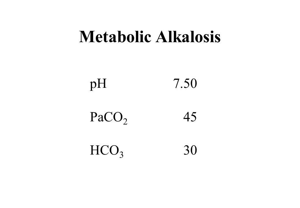 Metabolic Alkalosis pH7.50 PaCO 2 45 HCO 3 30