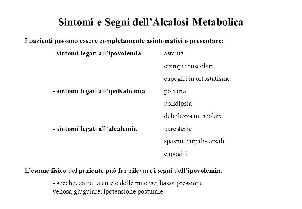 Sintomi e Segni dellAlcalosi Metabolica I pazienti possono essere completamente asintomatici o presentare: - sintomi legati allipovolemia astenia cram
