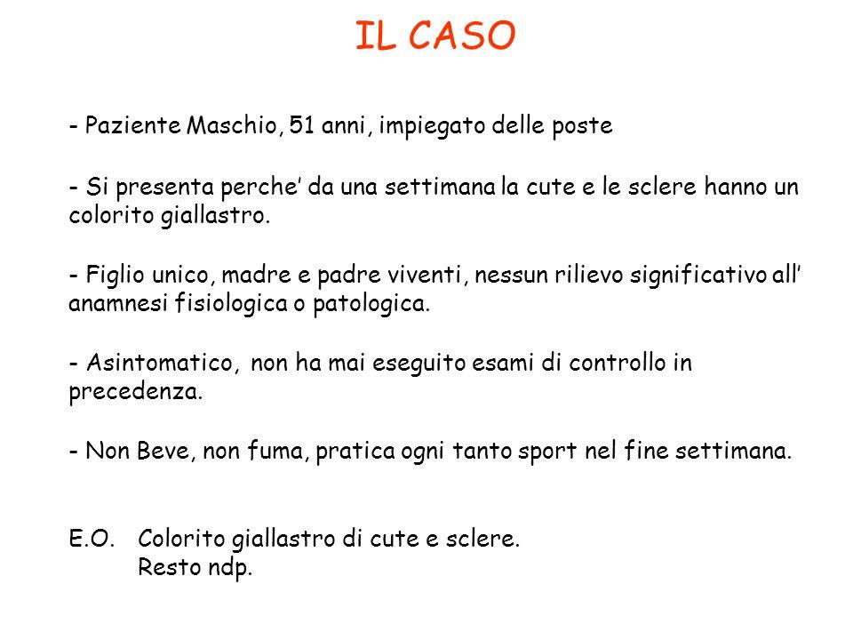 IL CASO - Paziente Maschio, 51 anni, impiegato delle poste - Si presenta perche da una settimana la cute e le sclere hanno un colorito giallastro. - F