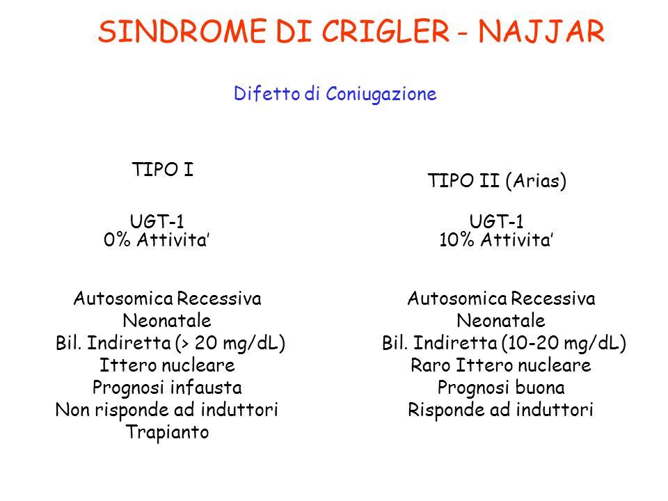 SINDROME DI CRIGLER - NAJJAR Difetto di Coniugazione UGT-1 0% Attivita Autosomica Recessiva Neonatale Bil. Indiretta (> 20 mg/dL) Ittero nucleare Prog