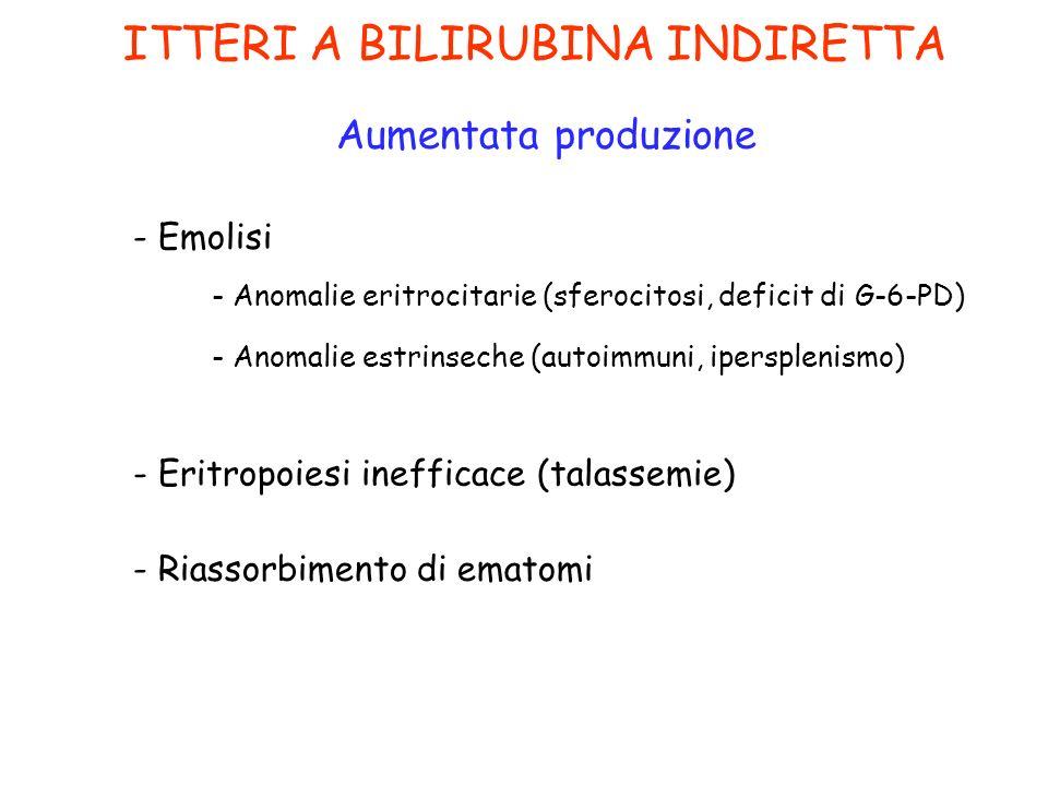 ITTERI A BILIRUBINA INDIRETTA Aumentata produzione - Emolisi - Eritropoiesi inefficace (talassemie) - Riassorbimento di ematomi - Anomalie eritrocitar