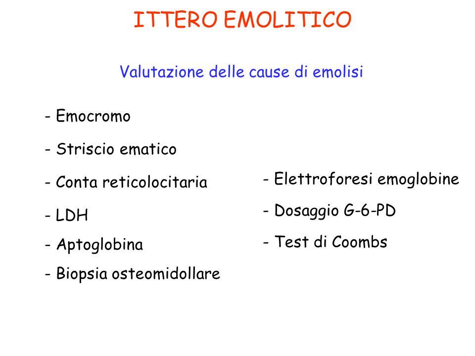 ITTERO EMOLITICO Valutazione delle cause di emolisi - Emocromo - LDH - Aptoglobina - Striscio ematico - Conta reticolocitaria - Biopsia osteomidollare