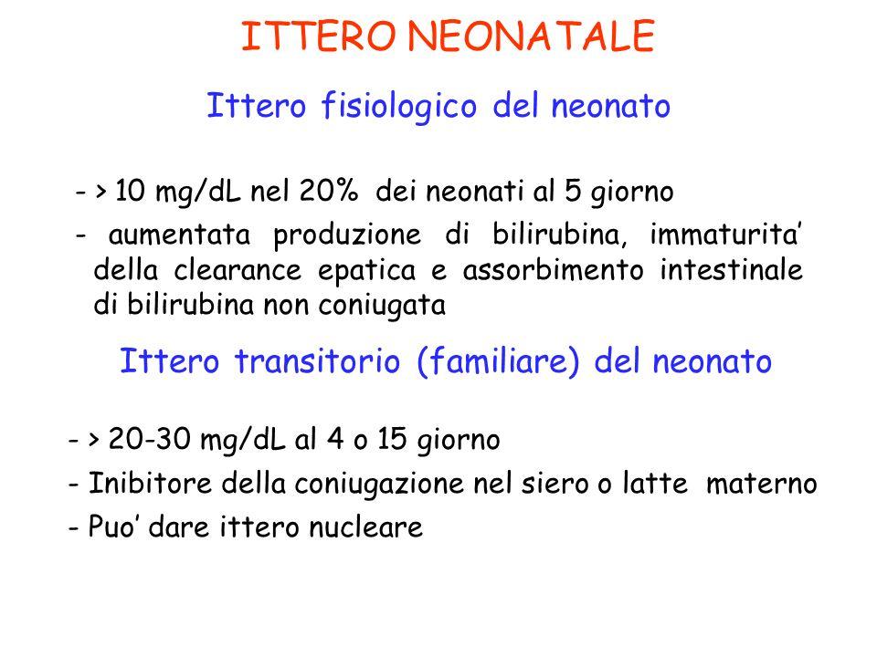 ITTERO NEONATALE Ittero fisiologico del neonato - > 10 mg/dL nel 20% dei neonati al 5 giorno - aumentata produzione di bilirubina, immaturita della cl