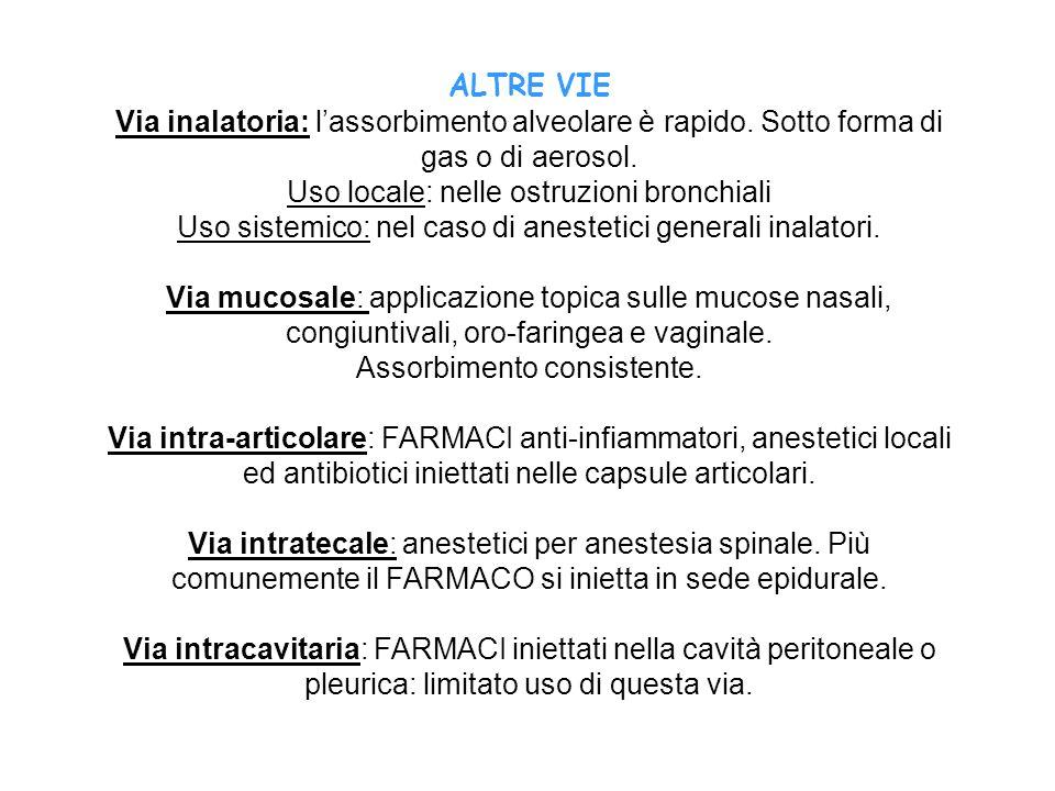 ALTRE VIE Via inalatoria: lassorbimento alveolare è rapido. Sotto forma di gas o di aerosol. Uso locale: nelle ostruzioni bronchiali Uso sistemico: ne