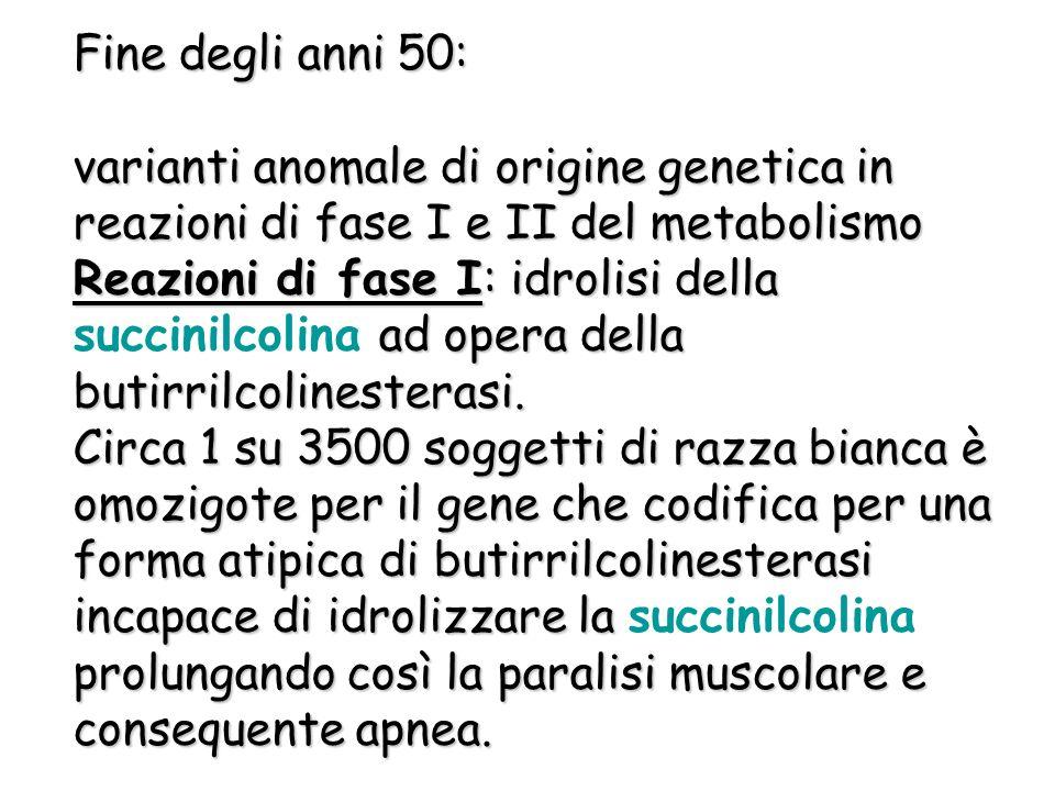 Fine degli anni 50: varianti anomale di origine genetica in reazioni di fase I e II del metabolismo Reazioni di fase I: idrolisi della ad opera della