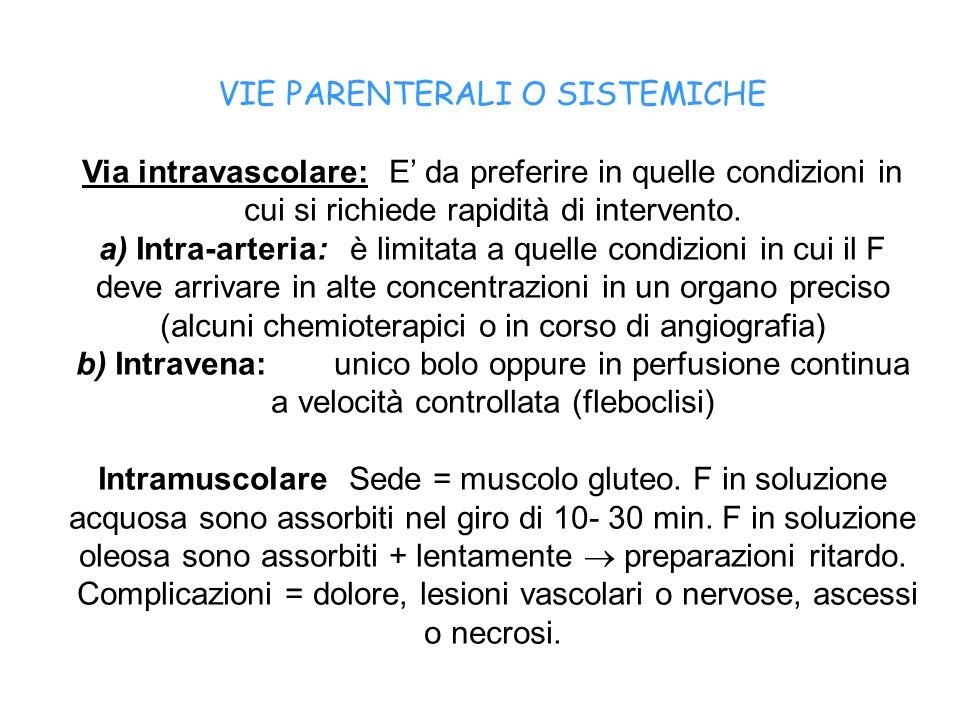 VIE PARENTERALI O SISTEMICHE Via intravascolare: E da preferire in quelle condizioni in cui si richiede rapidità di intervento. a) Intra-arteria: è li