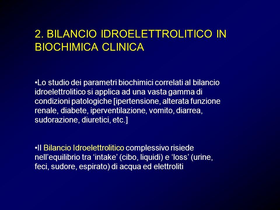 2. BILANCIO IDROELETTROLITICO IN BIOCHIMICA CLINICA Lo studio dei parametri biochimici correlati al bilancio idroelettrolitico si applica ad una vasta