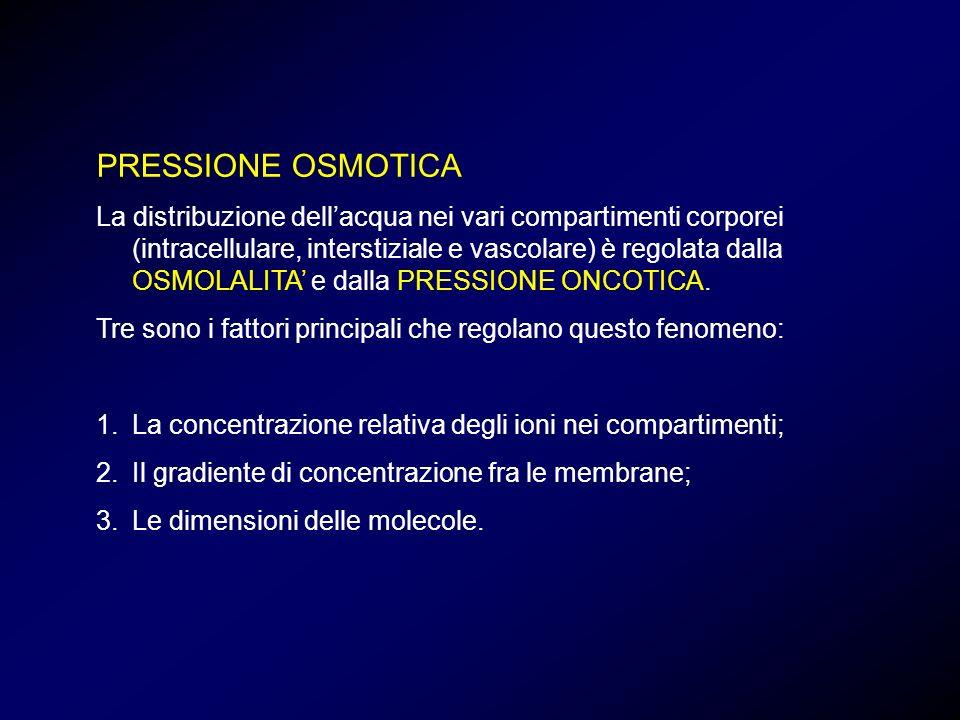 PRESSIONE OSMOTICA La distribuzione dellacqua nei vari compartimenti corporei (intracellulare, interstiziale e vascolare) è regolata dalla OSMOLALITA