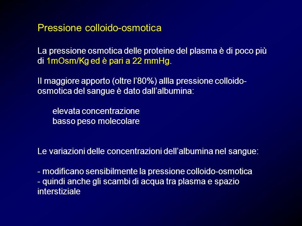 Pressione colloido-osmotica La pressione osmotica delle proteine del plasma è di poco più di 1mOsm/Kg ed è pari a 22 mmHg. Il maggiore apporto (oltre